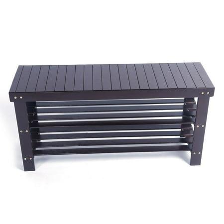 "Ktaxon 36"" Solid Wood Shoe Bench 3 Tier Storage Racks Seat Organizer Entryway Hallway Espresso - image 2 of 4"