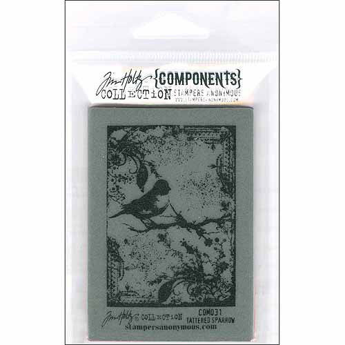 Stampers Anonymous Tim Holtz Cling Rubber Stamp: Tattered Sparrow Multi-Colored
