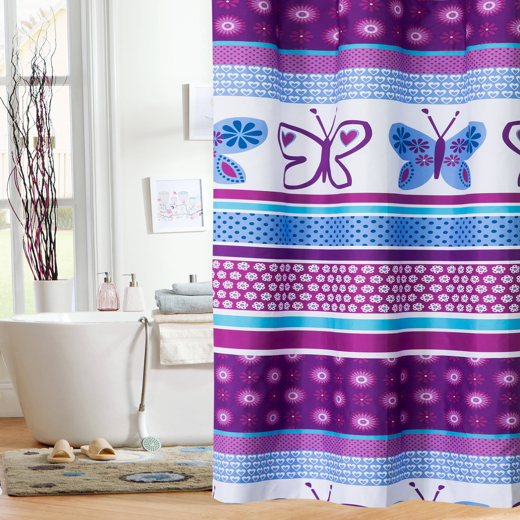 Mainstays Kids Purple Butterfly Shower Curtain