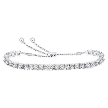 10k White Gold Womens Round Diamond Studded Bolo Bracelet 1/2 (1/2 Ct Tw Diamond Bracelet)