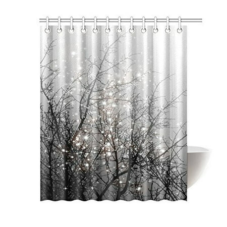 MYPOP Fashion Mystical Magical Tree Home Decor, Beautiful Black Tree Branch with Snowflake Polyester Fabric Shower Curtain With Hooks, 60 X 72 Inches, Black Grey