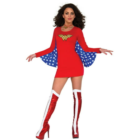 Wonder Womans Costume (Women's Classic DC Comics Wonder Woman Cape Dress Costume Medium-Large)