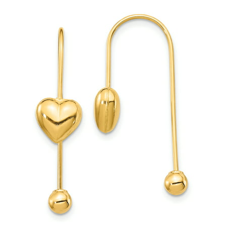 14K Yellow Gold Plated Puffed Heart with Screw End Threader Dangle Earrings