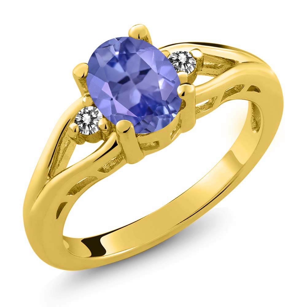 1.22 Ct Oval Blue Tanzanite and Diamond Gold Plated Sterling Silver Ring
