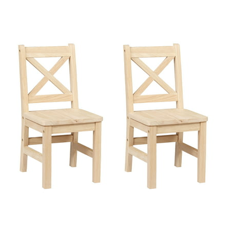 Solid Hard Wood Kids Chair Set Of 2 Unfinished