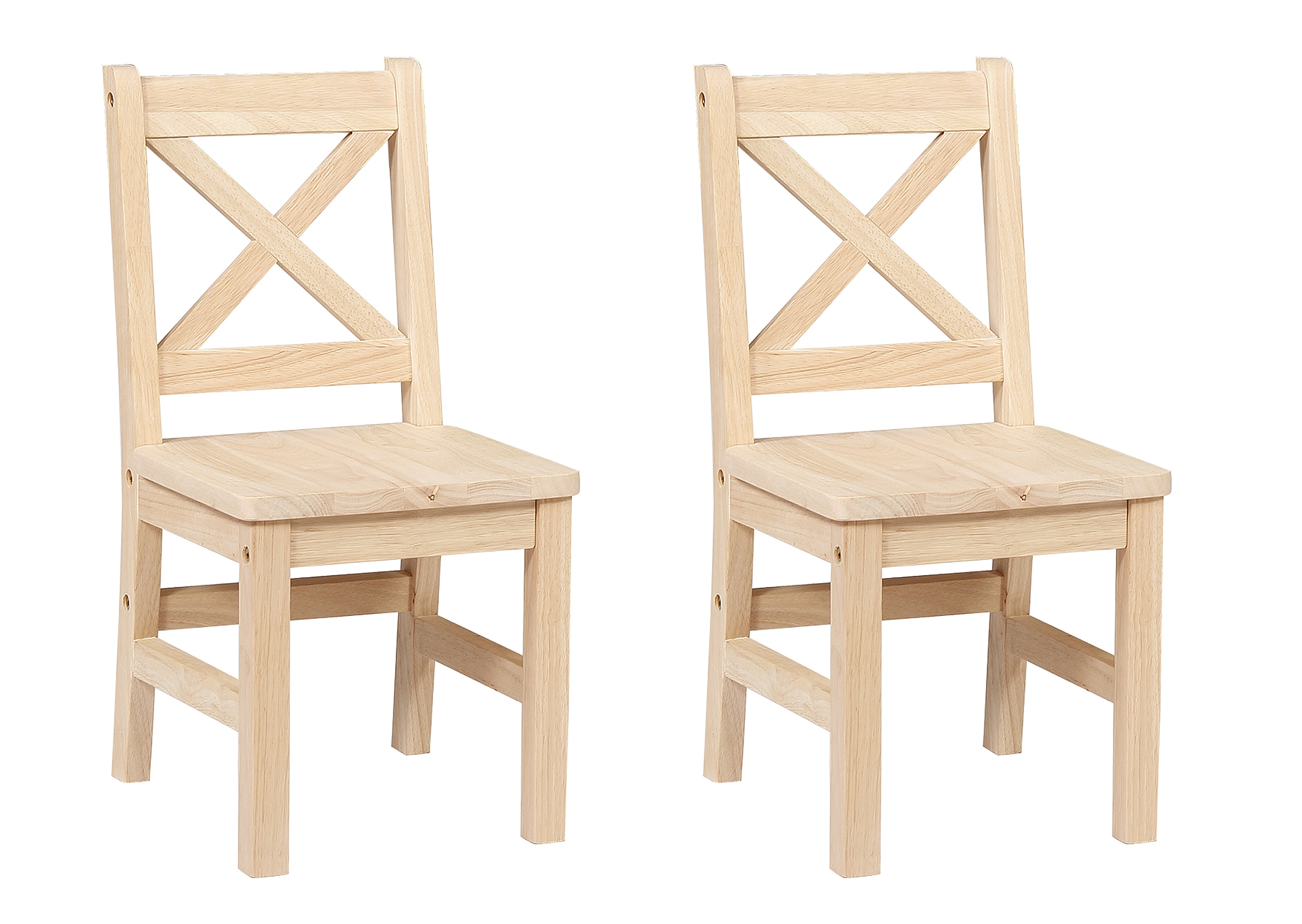 Solid Hard Wood Kids Chair, Set Of 2 (Unfinished)