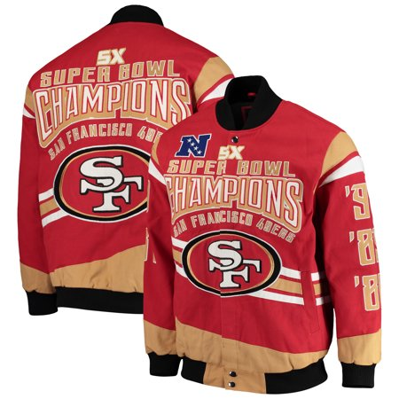 Nfl G-iii Suede (San Francisco 49ers G-III Extreme Gladiator Commemorative Cotton Twill Jacket - Scarlet )