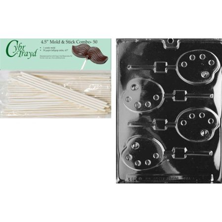 Cybrtrayd 45St50-J057 Palette Lolly Jobs Chocolate Candy Mold with 50 Lollipop Sticks, (Stack Pallet)