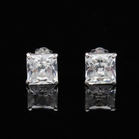 2Ct Princess Cut Created Diamond Solid 14K White Gold Pushback Stud Earrings 2ct Tw Stud Earrings
