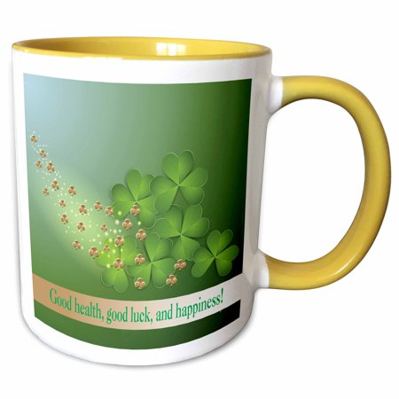 3dRose Beautiful Green and Gold Shamrocks, Good Health, good luck and happiness - Two Tone Yellow Mug, 11-ounce Double Happiness Gold Cufflinks