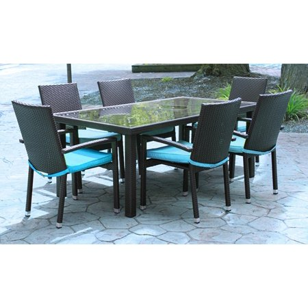 Peachy 7 Piece Black Resin Wicker Outdoor Furniture Patio Dining Set Blue Cushions Home Interior And Landscaping Fragforummapetitesourisinfo