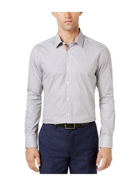 Ryan Seacrest Distinction Mens Camel Medallion Button Up Dress Shirt