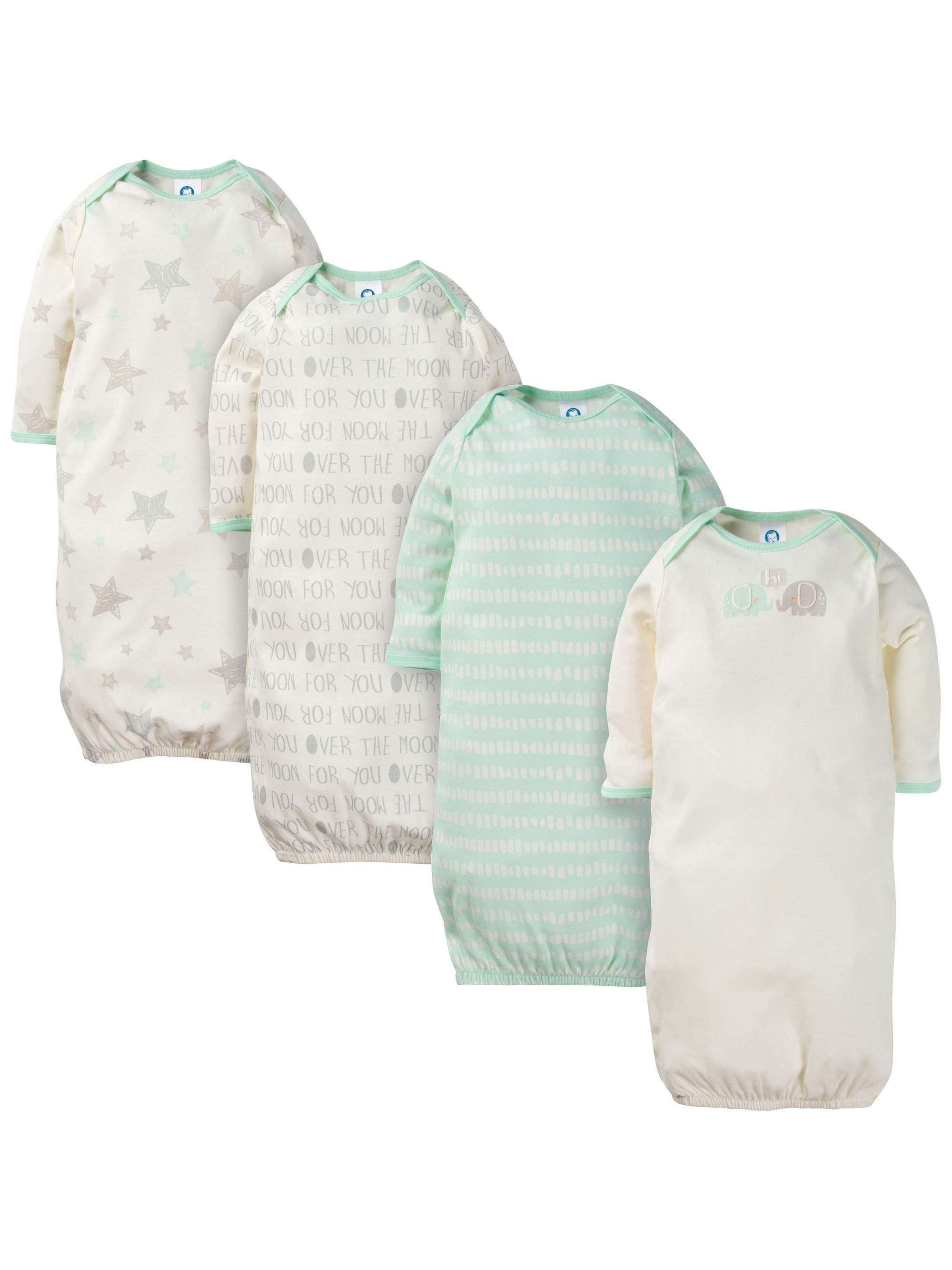 Gerber Baby Girl 2-Piece Aqua Little Birds Lap Shoulder Gowns Size 0-6M