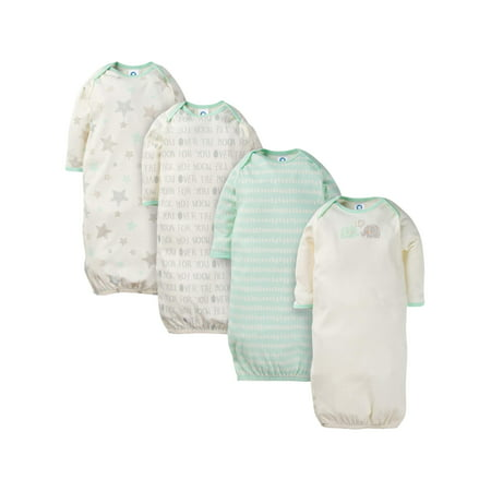 Gerber Assorted lap should gown with mitten cuffs, 4pk (baby boy or baby girl unisex)