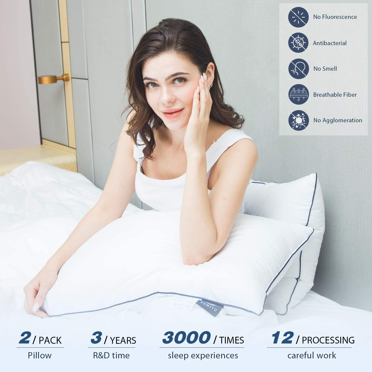SUMITU Bed Pillows for Sleeping 2 Pack Queen Size 20 x 30 Inches Hypoallergenic