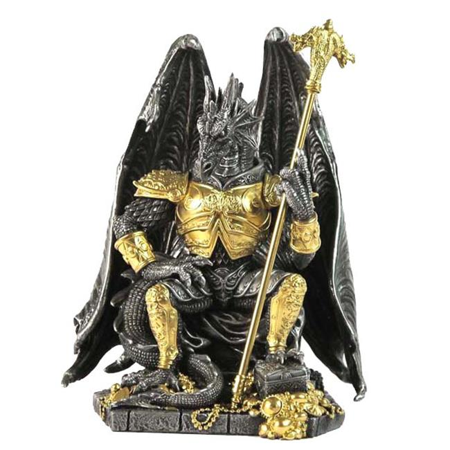Unicorn Studios WU75360A8 Pewter and Gold Armored Dragon King Sitting in Throne Sculpture