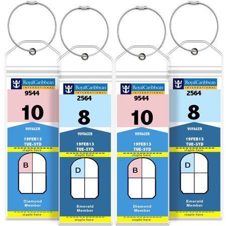 Greatshield Cruise Luggage Tag Holder  4 Pack  Zip Seal   Steel Loops  Water Resistance Pvc Pouch For Royal Caribbean And Celebrity Cruise Ship