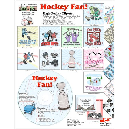 ScrapSMART Hockey Fan Clip-Art CD-ROM, Colorful Illustrations for Scrapbook, Craft, Sewing
