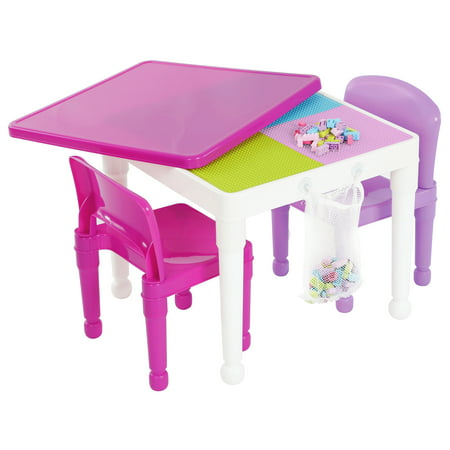 - Tot Tutors 2-in-1 Kids Building Block Compatible Plastic Table and 2 Chair Set, White/Pink/Purple