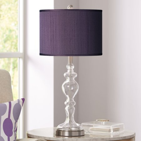 Possini Euro Design Modern Table Lamp Clear Glass Apothecary Eggplant Purple Faux Silk Drum Shade for Living Room Family Bedroom