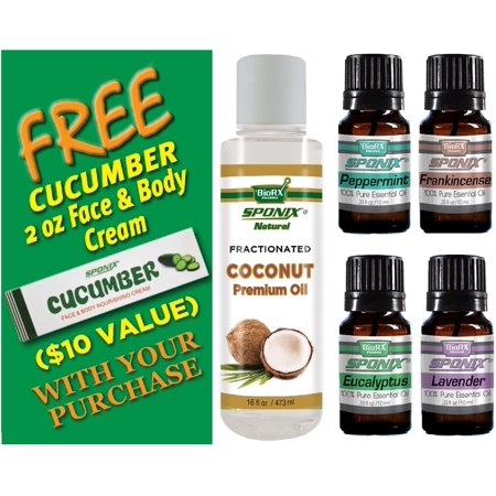 Top Essential Skincare Oil Kit - Best Essential Oil and Carrier Oil Combo - Fractionated Coconut Oil 16 oz, Eucalyptus, Lavender, Peppermint & Frankincense 10 mL mL each by Sponix