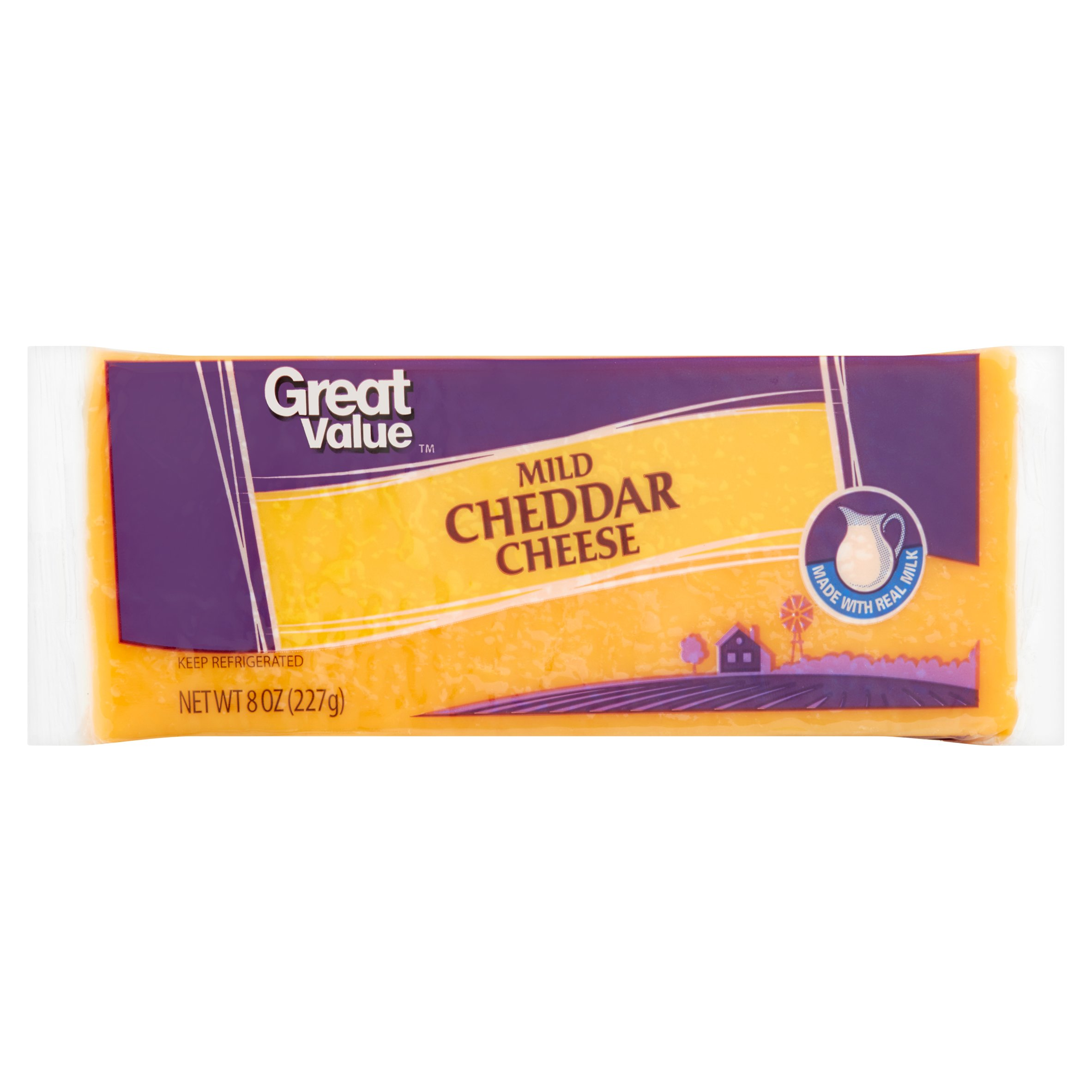Great Value Mild Cheddar Cheese, 8 oz