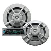 """Kenwood PKG-MR365BT Marine KMR-D365BT Single-DIN In-Dash Unit and KFC-1633MRW 6.5"""" 2-Way Speaker System Bundle"""