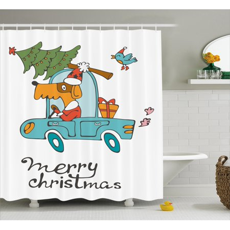Christmas Shower Curtain Set, Blue Vintage Car Dog Driving with Santa Costume Cute Xmas Bird Tree and Gift Present, Bathroom Decor, White Multi, by Ambesonne