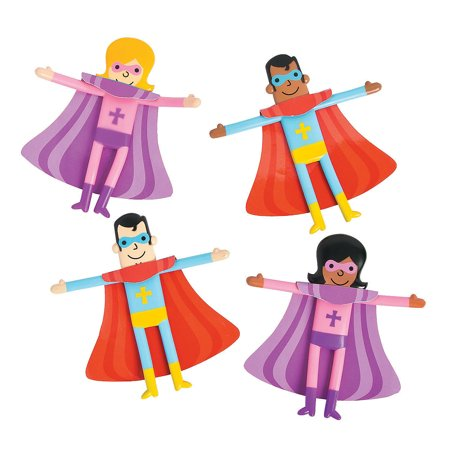 Fun Express - Religious Superhero Bendable - Toys - Character Toys - Bendables - 24 Pieces Religious Superhero Bendable - Toys - Character Toys - Bendables - 24 Pieces