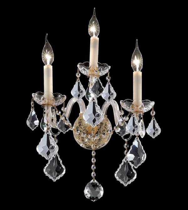Alexandria Clear Crystal Sconce w 3 Lights in Gold (Elegant Cut)