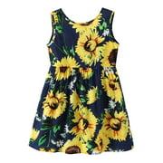 Everpert 6-7T Girls Sunflower Princess Sleeveless Dress Birthday Gift Cotton Clothes-214217.06