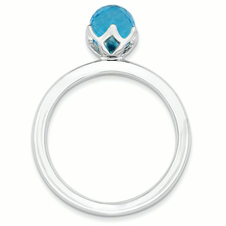 Sterling Silver Stackable Expressions Blue Topaz Briolette Ring Size 6 - image 2 of 3