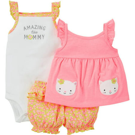 190290fc67c0 Child of Mine made by Carter's Newborn Baby Girl T Shirt, Bodysuit and  Shorts Outfit Set 3 Pieces