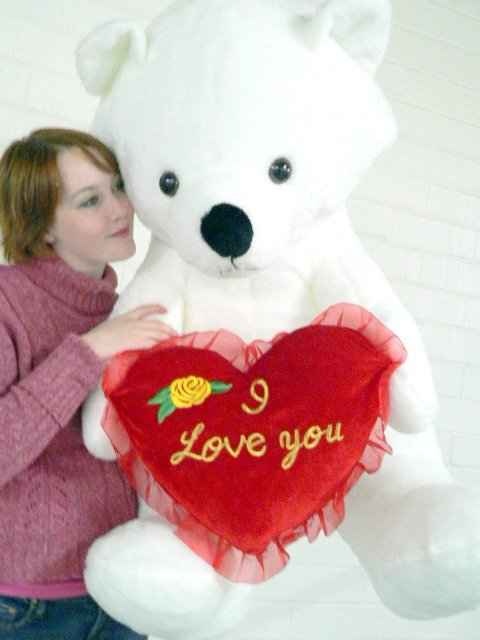 American Made Giant White Valentine Teddy Bear Holds I Love You Heart Pillow, Soft Huge 3... by BigPlush
