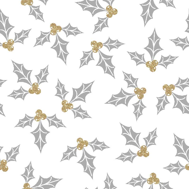 "FABRIC EDITIONS, COTTON FABRIC, FAT QUARTER 18""X21"", METALLIC, WINTER HOLLY"