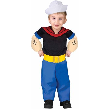 Popeye The Sailor Man Cartoon Toddler/Infant Baby Boys Costume (Halloween Cartoons Political)