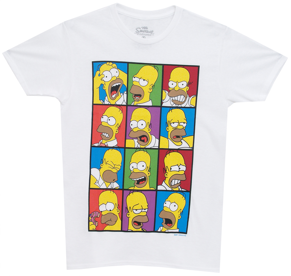 The Simpsons Homer's Famous Faces Cartoon TV Show Adult T-Shirt Tee