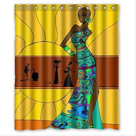 HelloDecor Distinctive Cartoon African Woman Shower Curtain Polyester Fabric Bathroom Decorative Size 60x72 Inches