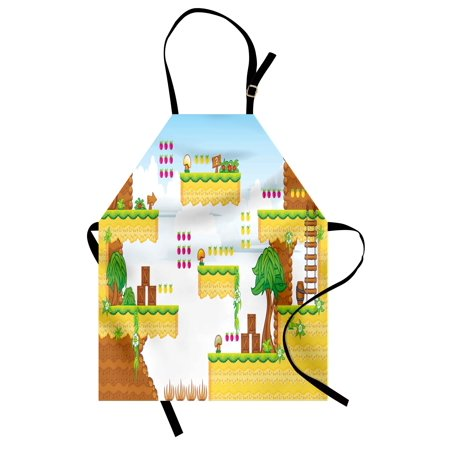 Video Games Apron Cartoon Retro Computer Graphic Kids Western Design Box Cloud Fun Adventure 90's, Unisex Kitchen Bib Apron with Adjustable Neck for Cooking Baking Gardening, Multicolor, by - Halloween Cartoon Movie 90's