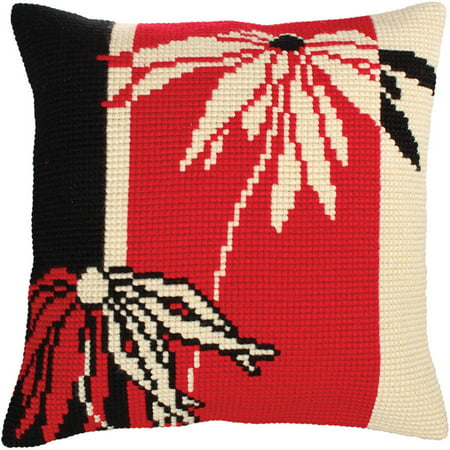 Collection D'Art Stamped Needlepoint Cushion Kit, 40cm x 40cm, Red And Black I