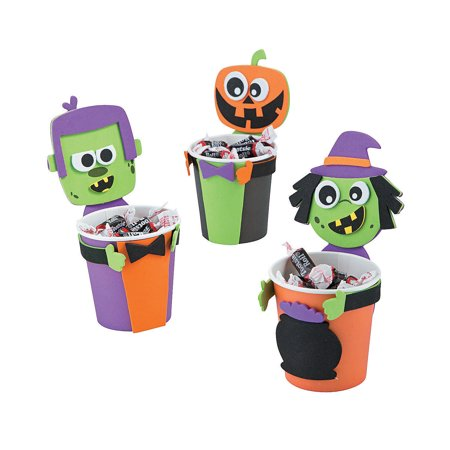 Fun Express - Halloween Treat Cup Hugger CK-12 for Halloween - Craft Kits - Home Decor Craft Kits - Containers - Halloween - 12 Pieces](Halloween Hobby Craft)