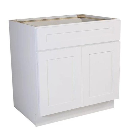 33 in. Fully Assembled Kitchen Sink Base Cabinet Shaker, White