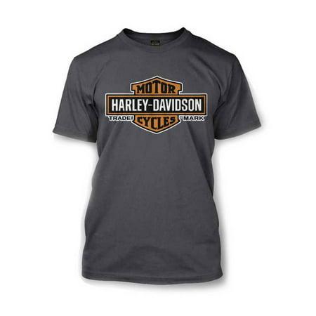Men's Elongated Orange Bar & Shield Charcoal T-Shirt 30291961, Harley Davidson - Harley Davidson Themes
