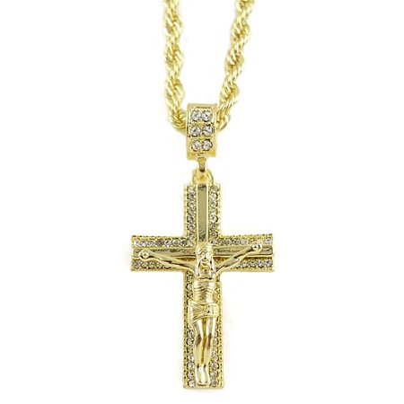 Hip Hop Bling Pendant (Mens Cross Crucifix Chain Iced-Out Jesus Bling Pendant Gold Finish Hip Hop Necklace 24 Inch)