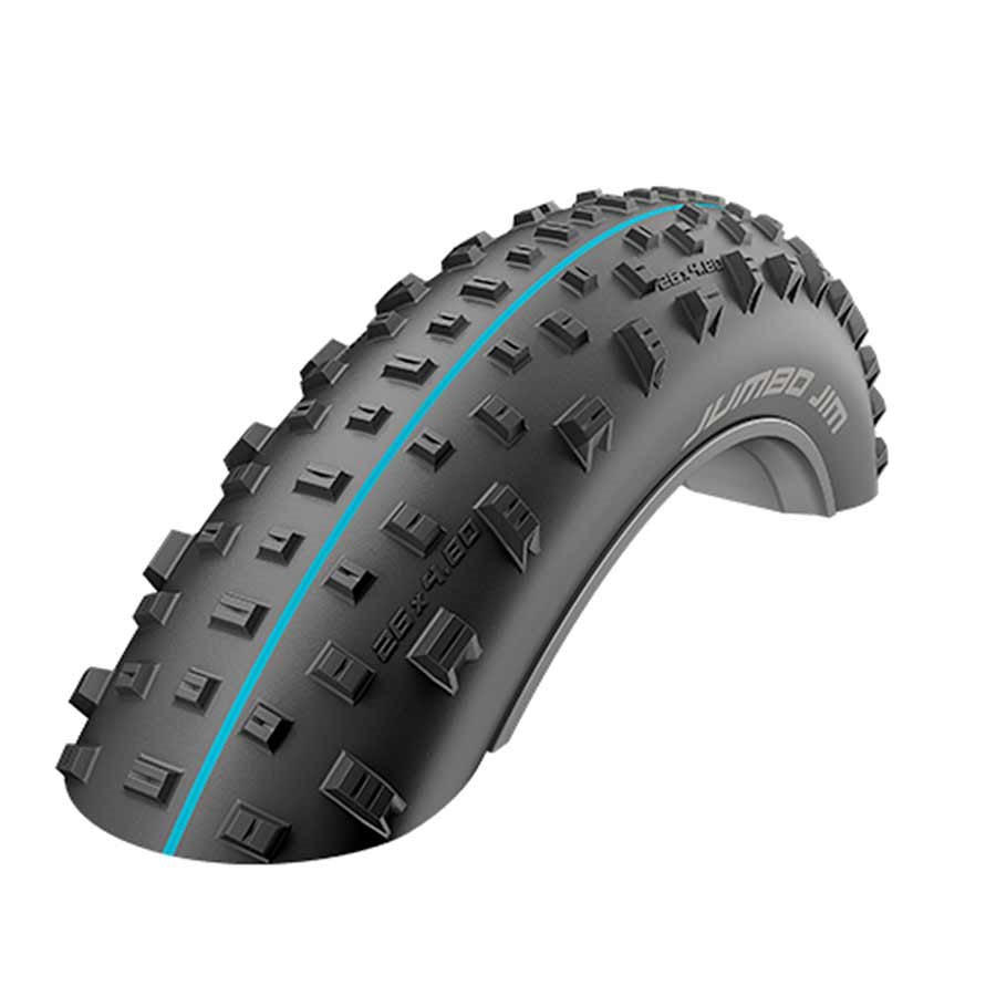 Schwalbe Jumbo Jim SnakeSkin Tubeless Easy Tire, 26 x 4.0 EVO Folding Bead Black with Addix SpeedGrip Compound