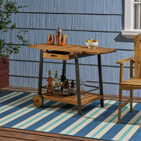 Michaela Outdoor Wood and Iron Bar Cart with Tray Top and Bottle Holders, Teak