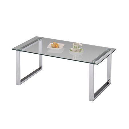 Chrome Metal & Tempered Glass Top Occasional Modern Coffee Cocktail Table