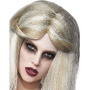 Long Grey Evil Zombie Blonde White Old Lady Witch Womens Halloween Wig
