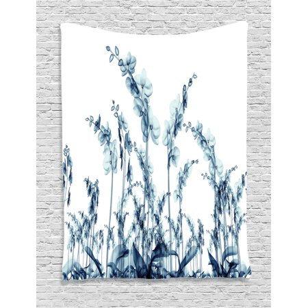 Xray Flower Decor Wall Hanging Tapestry, X-Ray Photo Of Group Of Wild Orchides Floral Image Unsual Decorating Artwork, Bedroom Living Room Dorm Accessories, By Ambesonne