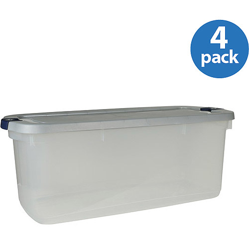 Rubbermaid 23.75-Gallon (95-Quart) Roughneck Clears Storage Box, Clear/Gray, Set of 4